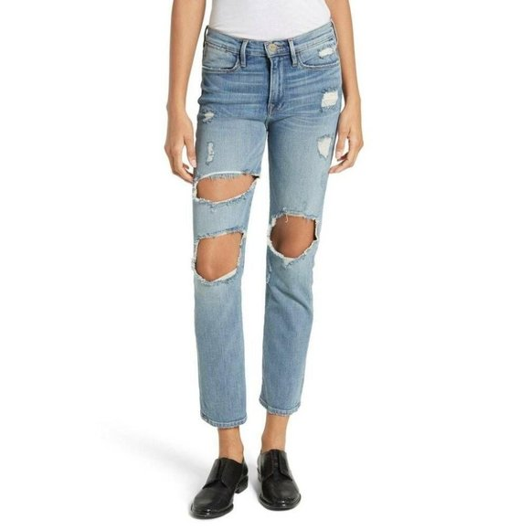 Frame Le High Straight Le Debs Distressed Jeans 29